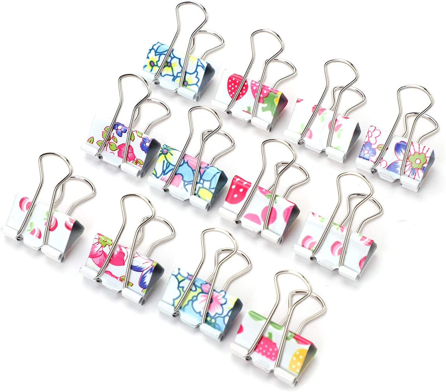 24 Pack Colorful Printed Binder Clips Clamps C Now free shipping Inexpensive Paper Metal