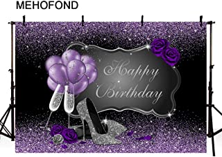 MEHOFOND Black and Purple Photo Background Props Silver High Heels Champagne Balloons Woman Purple Rose Balloons Adult Happy Birthday Party Banner Backdrops for Photography 7x5ft