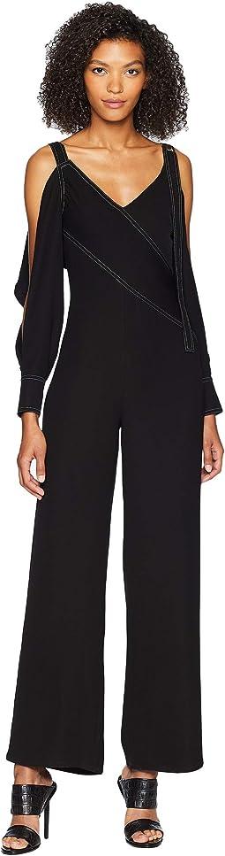 Cold Shoulder Jumpsuit w/ Back Flap