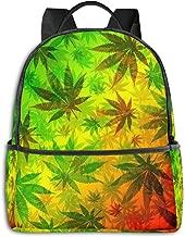 ENJOYG Marijuana Leaves Rasta Print School Backpack for Girls Boys Cute Bookbags Elementary School Bags College Bags Women Daypack Travel Bag