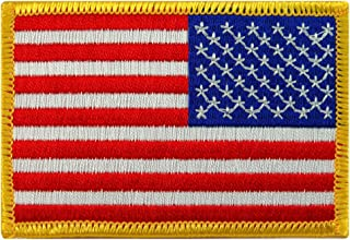American Flag Embroidered Patch Reverse Gold Border United States Iron-On Emblem