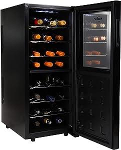Koolatron Urban Series 24 Bottle Dual Zone Wine Cooler, Thermoelectric Wine Fridge, Freestanding Wine Cellar for Home Bar, Kitchen, Apartment, Condo, Cottage