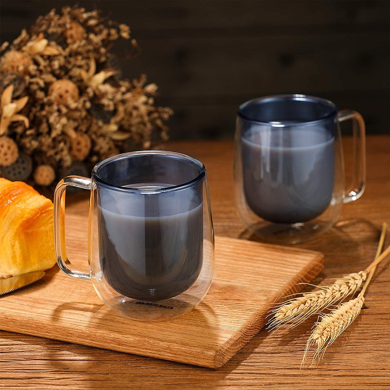 CMXING Tazas de caf/é de Pared Doble Copas Tazas de caf/é Termo Transparentes aisladas para Espresso Cappuccino Latte Amarillo-300mL