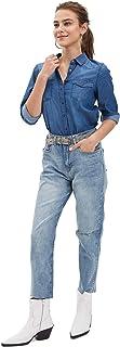 DeFacto Mujer Primavera Azul Denim Jeans Mujer Casual Arrancó Agujeros Pantalones de Mezclilla De Las Mujeres Recta De Mez...