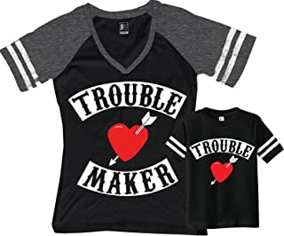 Trouble Maker Mom Shirt Black & Trouble Kids Boy Matching Set