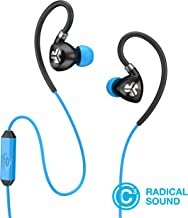 JLab Audio Fit2 Sport Earbuds, Sweatproof, Water Resistant with in-Wire Customizable Earhooks, Guaranteed Fit, Guaranteed for Life - Black/Blue