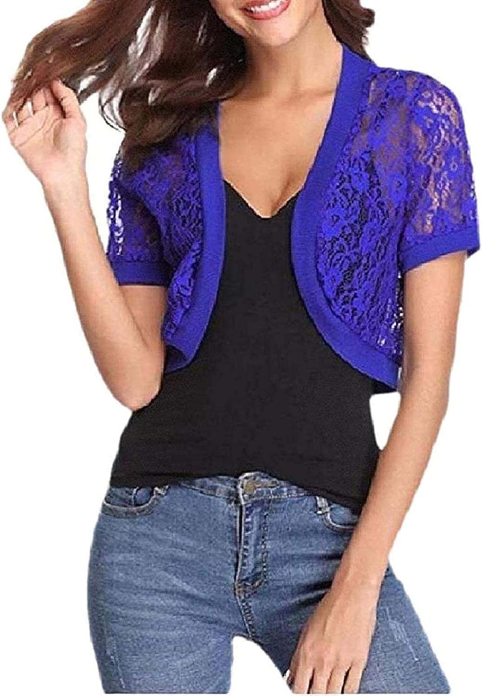 Women's Bolero Lace Coat Short Sleeve Blero Cardigan Crop Top