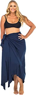 Womens Plus Size Sarong Swimsuit Cover up Solid Beach Wear Bikini Wrap Skirt with Coconut Clip