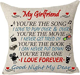 Queen's designer Best Gift to My Girlfriend You're The Song I Love Forever Good Night My Dear Book Movie Love Pattern Cotton Linen Decorative Throw Pillow Case Cushion Cover Square 18 X 18 Inches