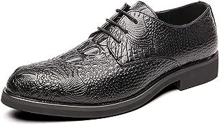 Zapatos casuales Zapatos de Oxford de los hombres, zapatos clásicos de negocios y vestimenta en relieve de cocodrilo, cord...