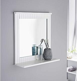 AJ Maine White Bathroom Wood Frame Mirror Wall New England Mounted with Cosmetics Shelf Elegant