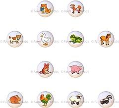 SET OF 12 KNOBS - Farm Set - Lil Animals Animal Series - DECORATIVE Glossy CERAMIC Cupboard Cabinet PULLS Dresser Drawer K...