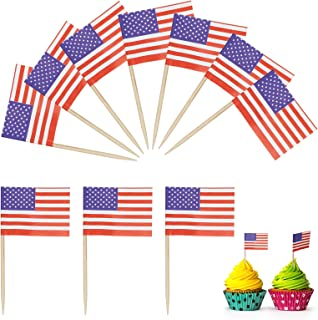 SUNKIM 200Pcs American Flag Toppers Cupcake Toothpicks US Flag Picks Army Cupcake Topper Edible Paper Markers Birthday Cak...