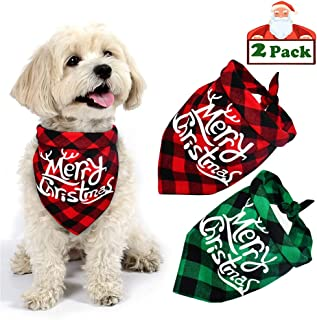Yodofol Dog Bandana, Christmas Pet Bandana Reversible Triangle Santa Claus Elk Snowflake Plaid Bibs Pets Costume Accessories for Dogs Cats Pets