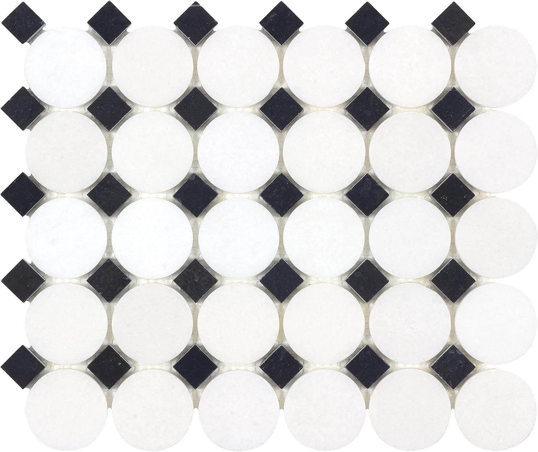 Modern Max 90% OFF White Black Circular Stone Bac Tile Mosaic Kitchen Marble Omaha Mall