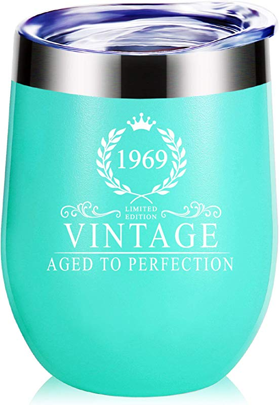 1969 50th Birthday Gifts For Women Funny Vintage Aged To Perfection Glass Tumbler Birthday Gifts Anniversary Gift For Mom Wife Sister Best Friends Co Worker Birthday Party Mug