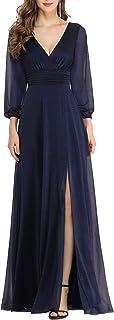 Ever-Pretty Vestido de Novia Cuello en V Abertura A-línea Manga Larga Invierno para Mujer 00739