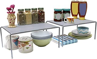 Callas Stackable Kitchen Cabinet and Counter Shelf Organizer,Silver, (Pack of 2; CA91AB)