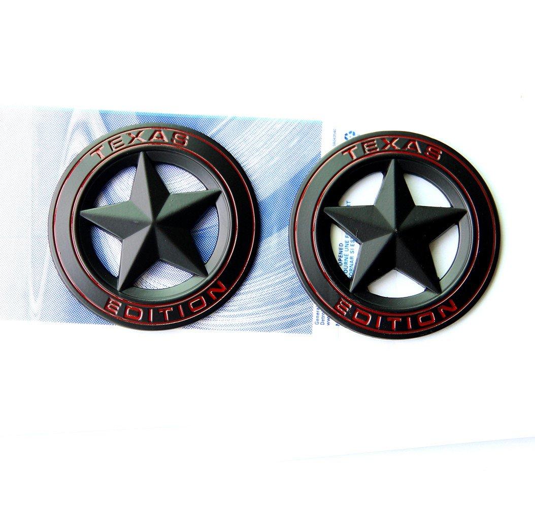 Qukparts 2pcs OEM Black Texas Edition Emblem Badge Tacoma Tundra Silverado Dodge RAM 1500 2500 Matte Red