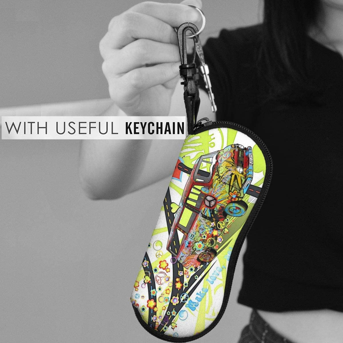 Hippie Style Peace Sunglasses Soft Case Ultra Light Neoprene Zipper Eyeglass Case With Key Chain