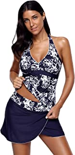 Zabrina Stores Women's Plus Size Print Two Piece Adjustable Deep V-Neck Tankini Wrapped Skirt Swimsuit (S-3X)