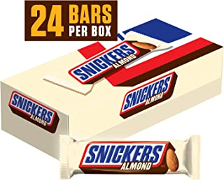 SNICKERS Almond Singles Size Chocolate Candy Bars 1.76-Ounce Bar,Pack of 24