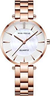 MINI FOCUS Simple Quartz Watches for Women Lady Woman Waterproof Stainless Steel Wristwatch