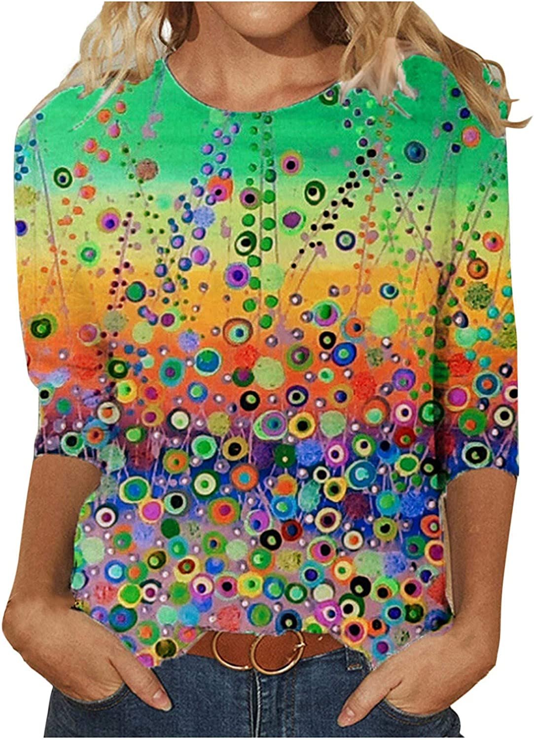 Summer Tops for Women, O-Neck Loose Pullover Comfortable Soft Blouses Tops Casual Colorful Print Tops