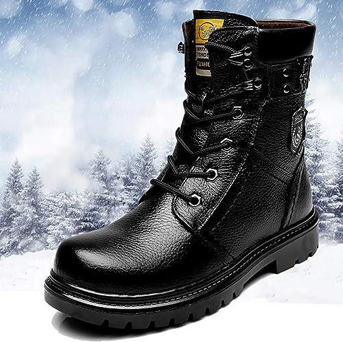 Fad-J Winter-Gaobang-Martinstiefel Für Herren, Lederstiefel Sowie SAMT Für Warme, Rutschfeste, Abriebfeste Outdoor-Schneeschuhe,schwarz,40