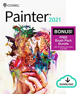 Corel Painter 2021 | Digital Painting Software | Illustration, Concept, Photo, and Fine Art | Amazon Exclusive Free Brush Pack Bundle [PC Download]