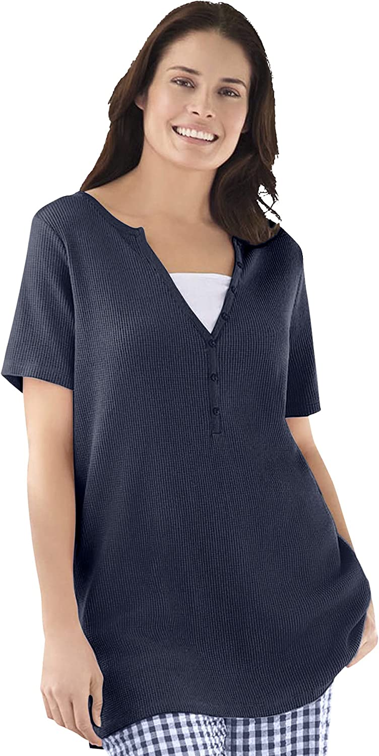 Woman Within Women's Plus Size Split-Neck Henley Thermal Waffle Tee Shirt