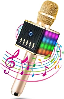 MODAR Karaoke Microphone Wireless, LED Lights Bluetooth Microphone, for Android and iOS Bluetooth Speaker 4.1, 3-in-1 Karaoke Mic for Outdoor Home Party KTV, Gift for Family