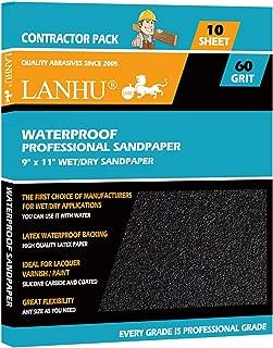 LANHU 60 Grit Sandpaper for Wood Furniture Finishing, Metal Sanding and Automotive Polishing, Dry or Wet Sanding, Multipurpose Sandpaper, 9 x 11 Inches, 10-Sheets