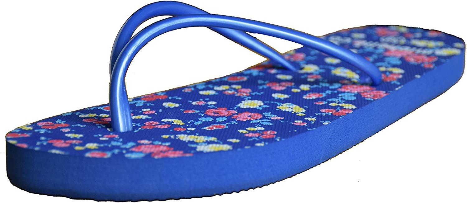 CORPS GEMA Women's Slim Flip Flop with Small Printing Flower