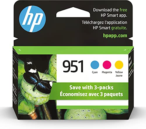 Original HP 951 Cyan, Magenta, Yellow Ink Cartridges (3-pack) | Works with HP OfficeJet 8600, HP OfficeJet Pro 251dw,...