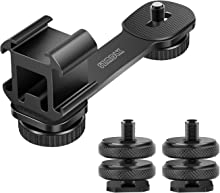 "SZMDLX Triple Cold Shoe Mount Camera Extension Bracket 1/4"" Hot Shoe Mount Adapter 2pcs Gimbal Extension Bracket Universal Bracket Zhiyun Smooth 4 / Smooth Q/Feiyu Vimble 2 Gimbal Stabilizer"
