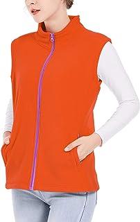 SPRING SEAON Women's Full-Zip Polar Fleece Vest Classic Fit Sleeveless Full-Zip Winter Autumn Soft Shell Vest