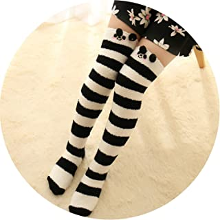 秋冬のステレオ漫画のボトムソックス 膝上の靴下のサンゴベルベット靴下の長いソックス,黒と白のストライプパンダ,ブティック