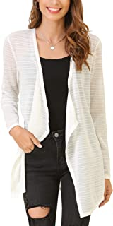 MessBebe Women's Classic Open Front Drape Long Sleeve Summer Lightweight Knit Sheer Cardigan