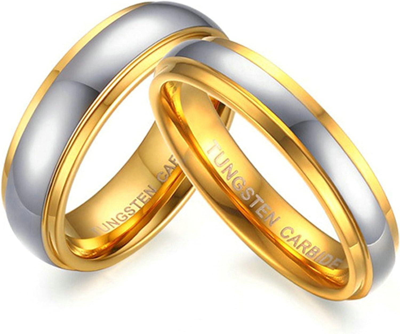 Daesar 2PCS San Jose Mall Women Men Ring 6MM Carbide Tungsten Weddi Rings Gold Max 49% OFF