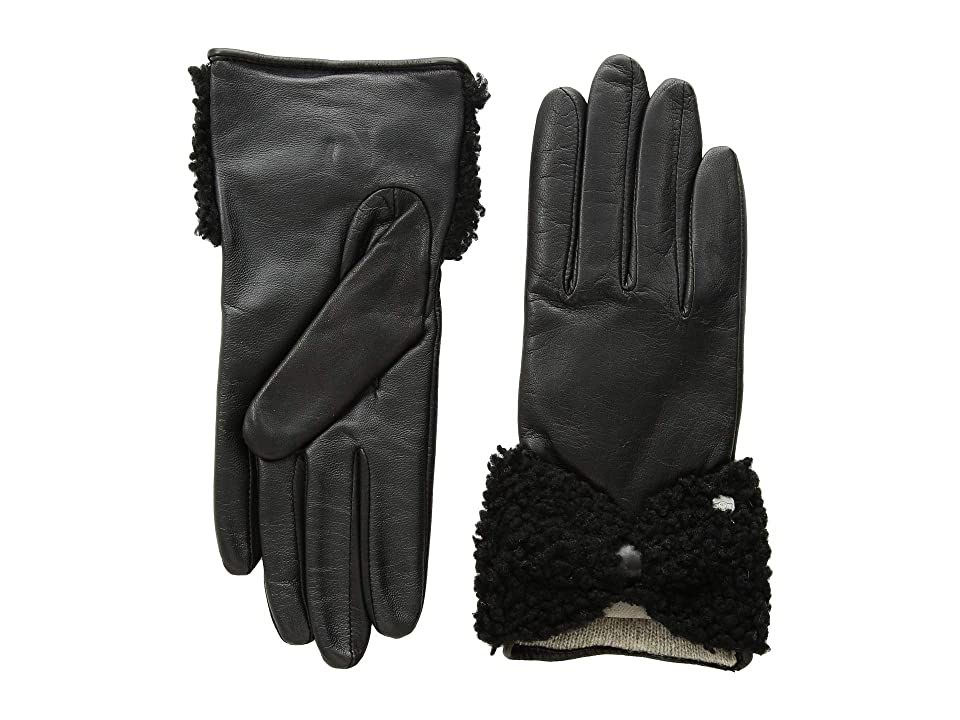 UGG Tech Leather Gloves with Sheepskin Bow (Black) Extreme Cold Weather Gloves