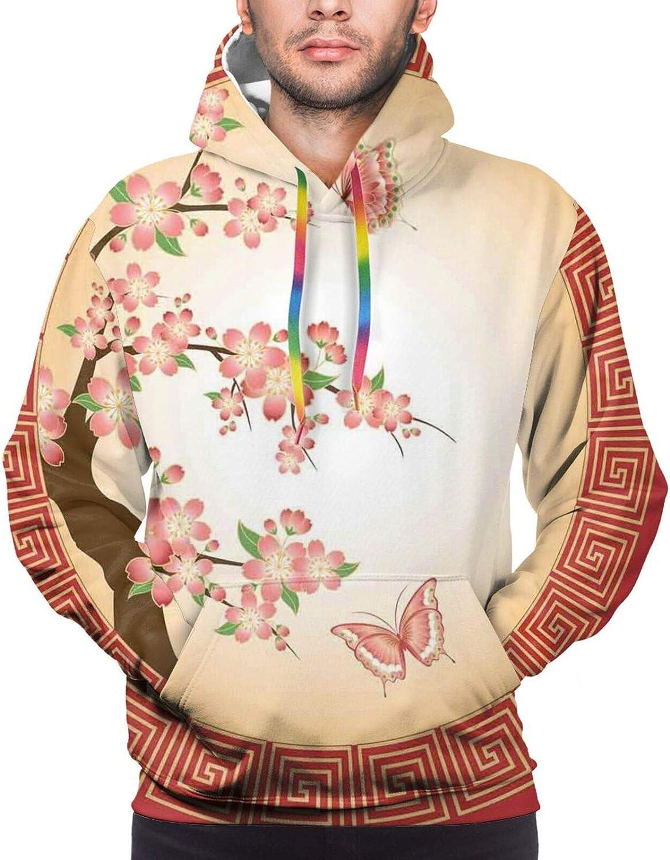 Men's Hoodies Sweatshirts,Oriental Bird Flowers On Stalks Asian Symbolism with Ombre Effect
