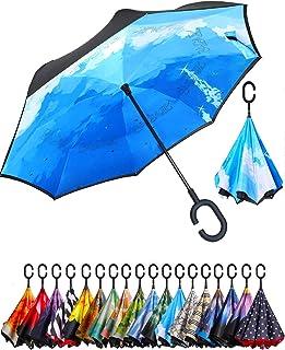 BAGAIL Double Layer Inverted Umbrella Reverse Folding Umbrellas Windproof UV Protection Big Straight Umbrella for Car Rain...
