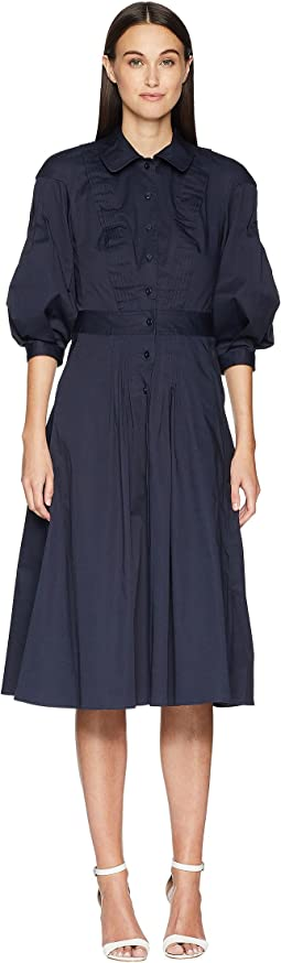 Zac Posen Cotton Poplin 3/4 Sleeve Dress