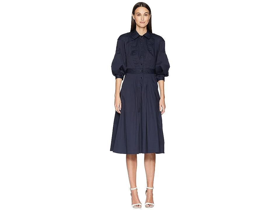 Zac Posen Cotton Poplin 3/4 Sleeve Dress (Navy) Women