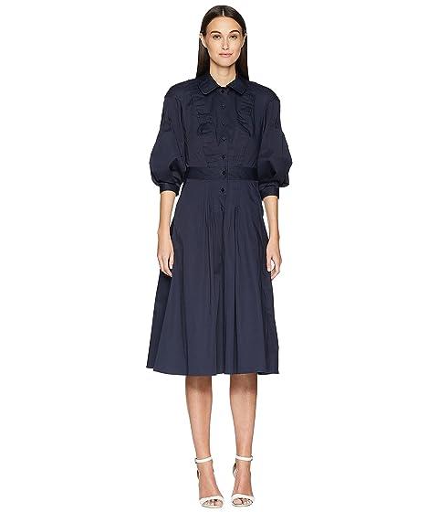 Zac Posen Cotton Poplin 3/4 Sleeve Dress