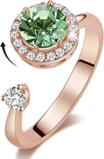 TZL Rotating Birthstone Rings for Girls Womens Birthday Gifts Embellished with Crystals from Swarovski Ring 18K White/Rose...