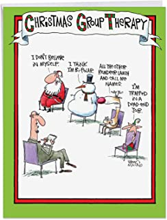 XL 'Group Therapy' Comedy Merry Christmas Card (Large Size 8.5 x 11 Inch) - Big Christmas Card With Funny Holiday Illustration Of Santa's Therapist w/Envelope - J5799XSG