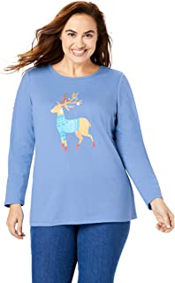 Woman Within Women's Plus Size Holiday Graphic Tee