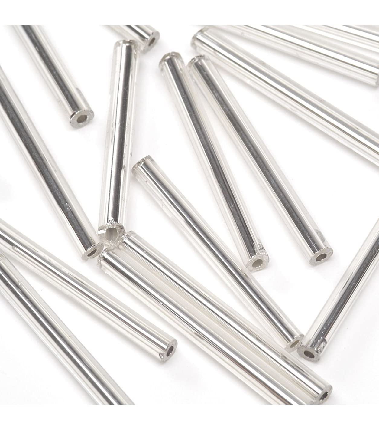 Darice Silver-Lined Bugle Beads - Silver